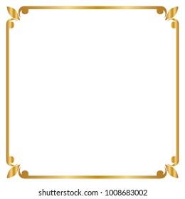 Frame and border , Square, Golden frame, Vector illustration