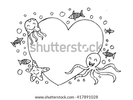 Frame Border Tropical Fishes Starfish Jellyfish Stock Vector ...