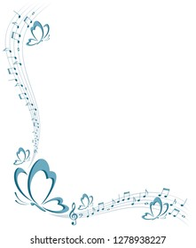 Frame with butterfly and music notes.