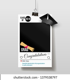 Frame with cap for grads. Graduation party photo booth props. Concept for selfie. Photobooth vector element. Congratulation grad quote. Vector illustration. Isolated on white background.