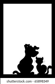 Frame with cat and dog silhouette - vector illustration.