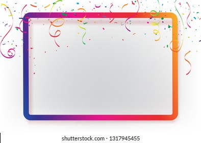 Frame Celebration background, template with confetti Colorful ribbons. luxury greeting rich card.