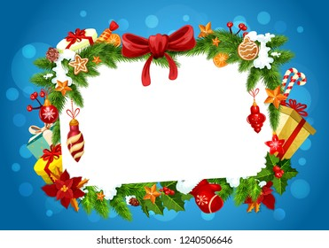 Frame of Christmas greeting card with blank space for wishes, vector. Bow and gingerbread cookies, orange and candy, Xmas tree decorations. Fir branches and gift boxes, mittens and holly berry
