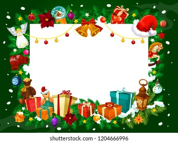 Frame for Christmas greeting card, vector. Gifts and jingle bells, angel and holly plant, snow ball and horse, snowman and lantern, bear and mitten. Garland and fir branches under snow