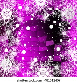 Frame of Christmas snowflakes on a purple background with a geometrical pattern. vector illustration. graphic arts and design. a series of images for the new year and Christmas