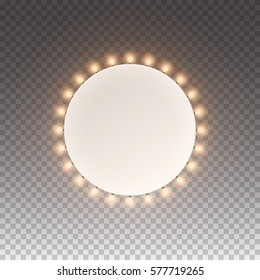 Frame circle with bulbs. Illuminated round light casino banner isolated on transparent background. Vector retro ring frame sign with lamps. Glowing round lights billboard for advertising design.