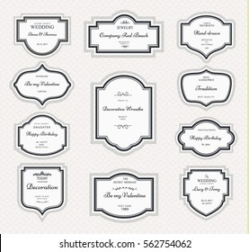 Frame classic template. Vintage contour of blank frames and labels. Vector element