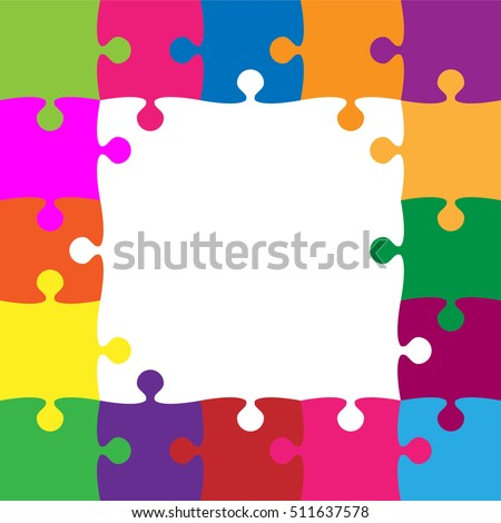 Frame Color Puzzle Pieces Arranged Square Stock Vector (Royalty Free ...