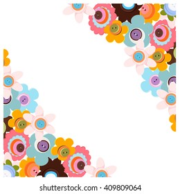 Frame of colorful flowers buttons