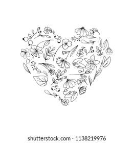 Frame composed of flowers in heart.Hand drawn flowers, sketched flowers and plants, black and white, monochrome. Vector illustration.