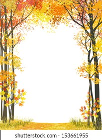 Frame composition with autumn trees on white background