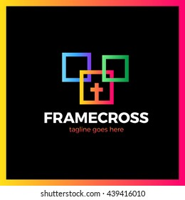 Frame Cross Church Logo. Christian Box Square Logotype. Three color gradient
