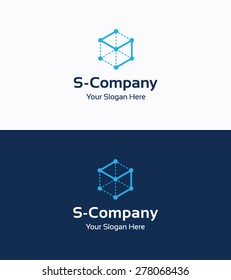Frame cube 3D company logo template with letter S