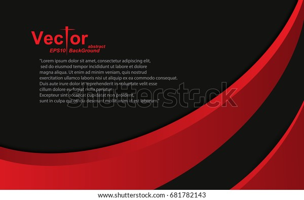Frame Curve Red Black Abstract Background Stock Vector Royalty Free 681782143