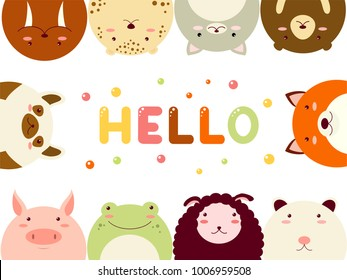 Frame with cute funny inquisitive cartoon animals looking out and inscription hello. EPS8