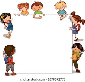 frame cute young international school boy and girl with backpack and school supplies. Place for text.