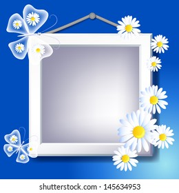 Frame, daisy and transparent butterfly