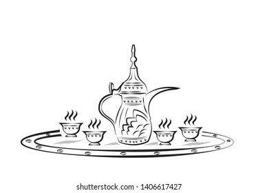 Frame with Dallah traditional Middle Eastern coffee container and cup  outline art. Editable Clip Art.
