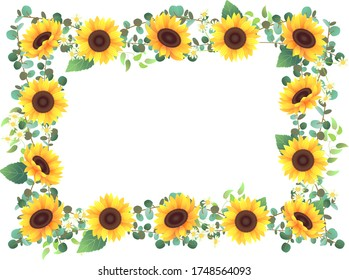 Frame decorated with sunflowers and various plants