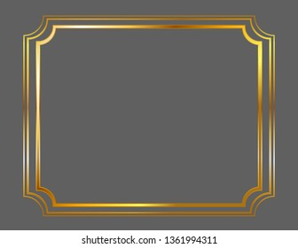 Frame decoration gold square isolated