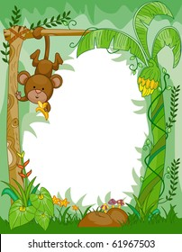 Frame Design Featuring a Monkey Eating Bananas in the Jungle - Vector