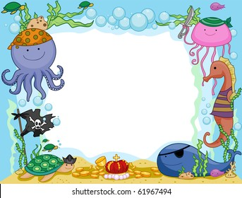 Frame Design Featuring Pirate Animals Underwater - Vector