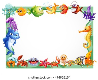 Frame design with sea animals illustration