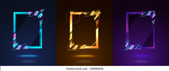 Frame design for text Modern Art graphics for hipsters. dynamic frame stylish geometric black background. element for design business cards, invitations, gift cards, flyers and brochures.