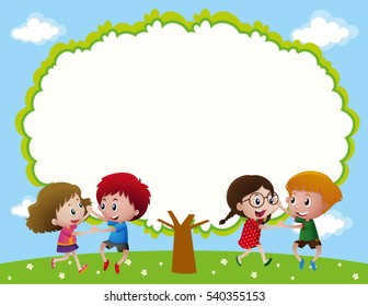 Frame design with two couples dancing illustration
