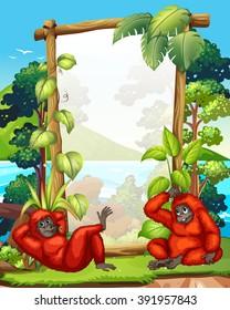 Frame design with two gibbons illustration