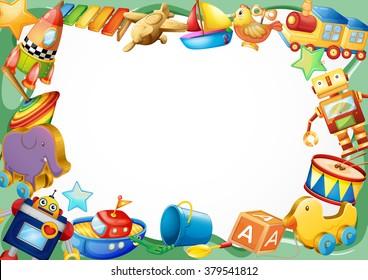 Frame design with wooden toys illustration