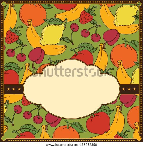 Frame of different fruits. Banane, apple, cherry, orange, lemone,