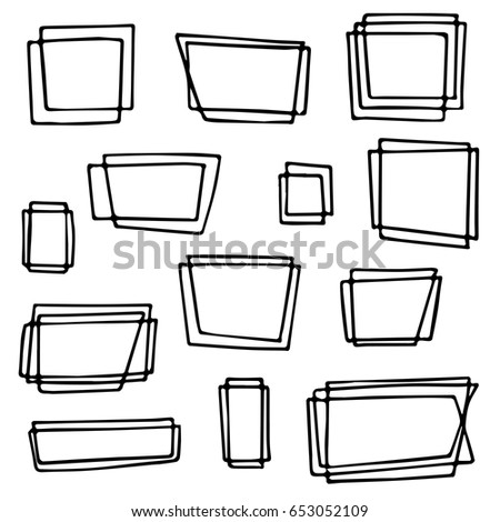 Frame Different Shapes Sizes Hand Drawn Cartoon Stock Vector ...