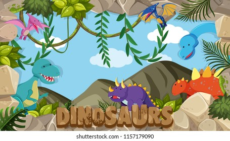 A frame of dinosaurs illustration