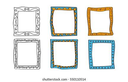 frame doodle. vector element template. set collection