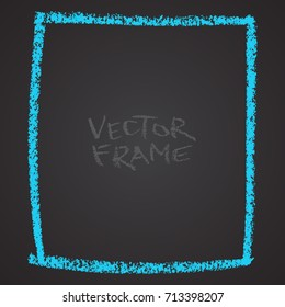 Frame drawn with a crayon. Wax crayon empty shape. Vector image of hand drawn stroke frame. Blue sguare outlined shape.