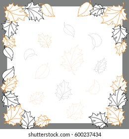 Frame with drawn leaves, decorative, no photo. Autumn decorative frame with foliage in vector. Digital artwork.