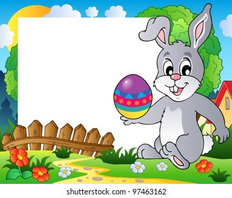 Frame with Easter bunny theme 3 - vector illustration.