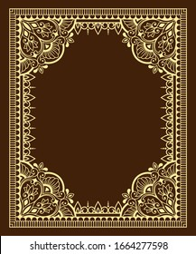 Frame in eastern tradition. Stylized with henna tattoos decorative pattern for decorating covers for book, notebook, casket, magazine, postcard and folder. Flower mandala in mehndi style.