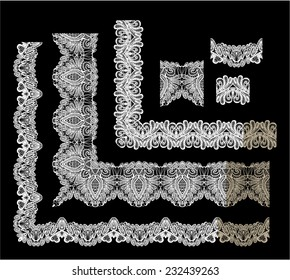 Frame Elements Set - different lace edges and borders - Seamless stripes - floral lace ornament - white on black background