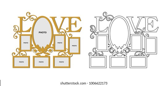 Frame for family photos for laser cutting. Collage of photo frames vector illustration