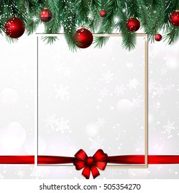 The frame from festive Christmas tree and toys. vector. The holiday red bow adds cheerful mood for composition.