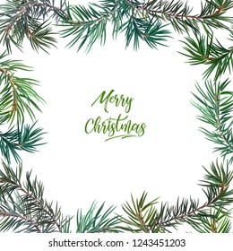 Frame with fir tree. Perfect for New Year and Christmas. Vector illustration, EPS 10.