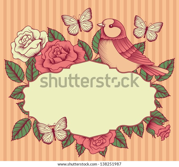 Frame with flowers, birds and butterflies
