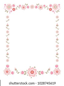 Frame of flowers, for invitations, seasonal greetings, wedding printing, international women's day, mother's day