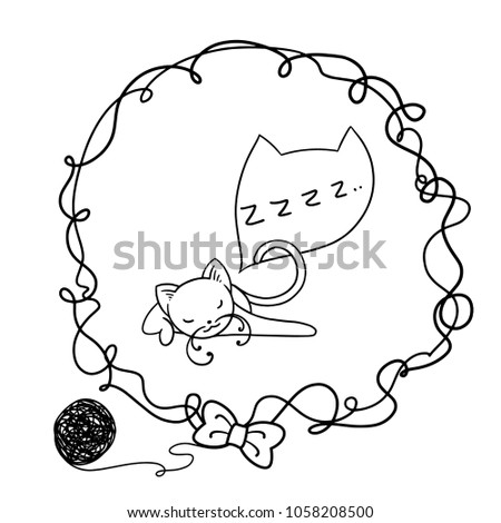 Frame Funny Cartoon Cat Clipart Hands Stock Vector Royalty Free
