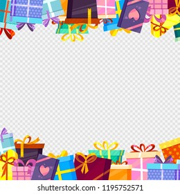 Frame with gifts. Colored greetings packages with ribbons at transparent background decoration vector borders template with place for your text