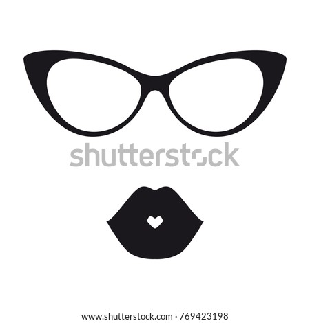 Frame Glasses Style Cat Eyes Black Stock Vector (Royalty Free ...