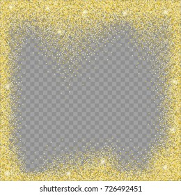 Frame from glitter on a transparent background. Texture of sequins for design and decoration. Vector illustration