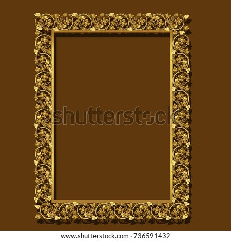 280c43a37db Frame Gold Color Shadow On Brown Stock Vector (Royalty Free ...